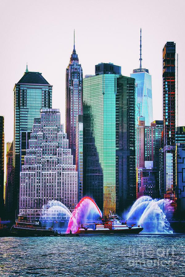New York Skyline East River Fdny Boat Photograph