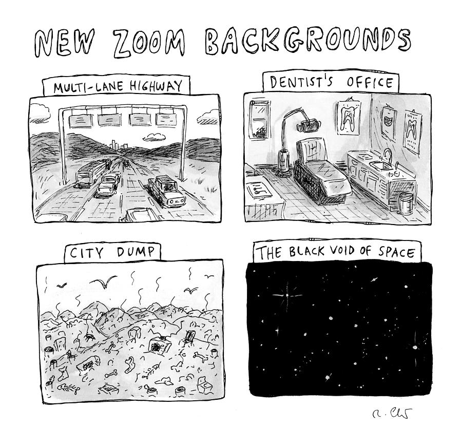 New Zoom Backgrounds Drawing by Roz Chast