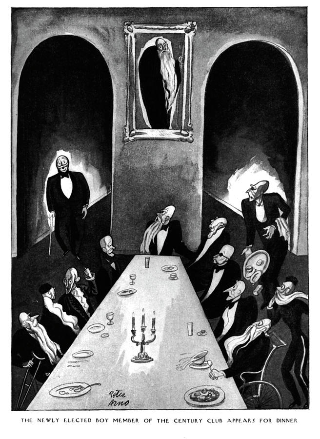 Newly Elected Boy Member of the Century Club Appears for Dinner Drawing by Peter Arno