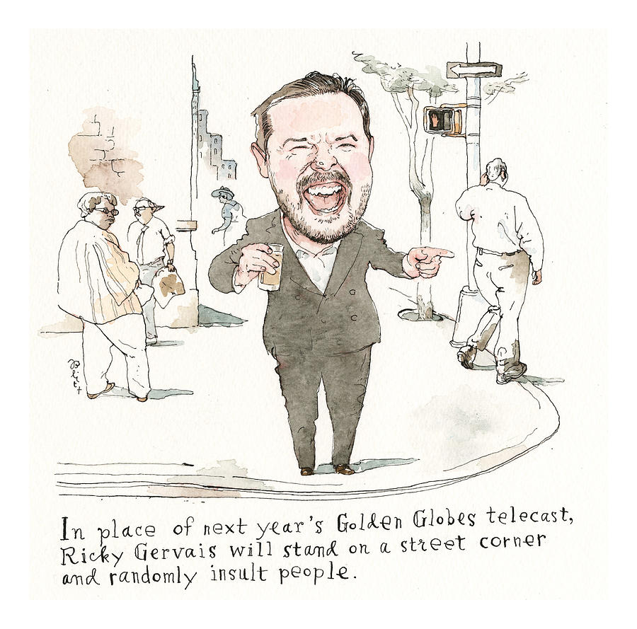 Next Years Golden Globes Plan Revealed Painting by Barry Blitt