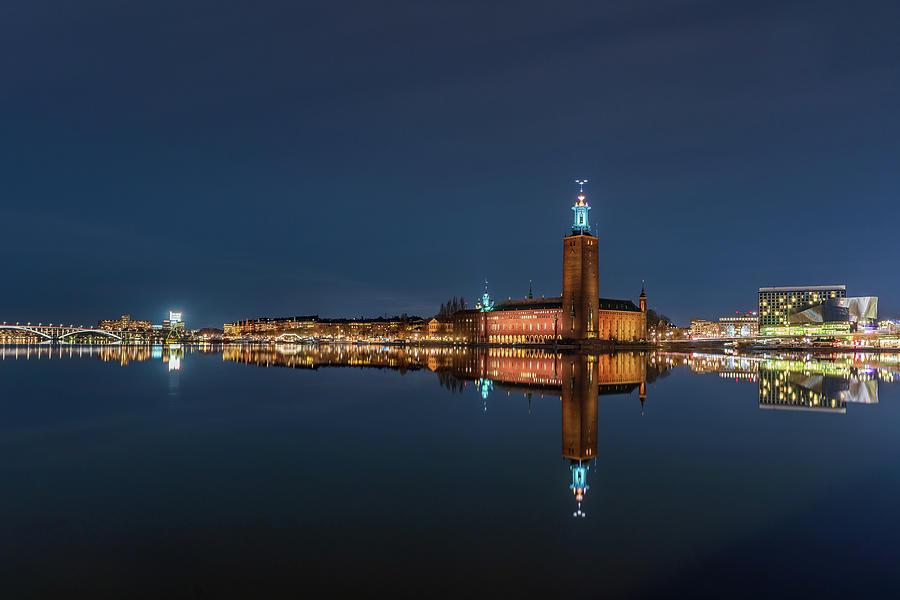 Stockholm Photograph - Nice Stockholm City Hall and Kungsholmen Blue Hour Reflection by Dejan Kostic