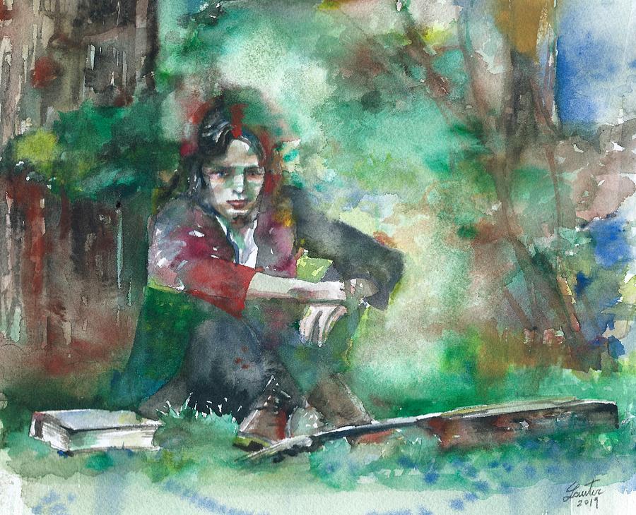 NICK DRAKE - watercolor portrait.7 by Fabrizio Cassetta