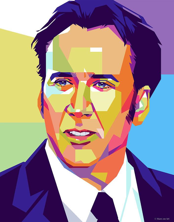 Nicolas Cage Portrait Digital Art