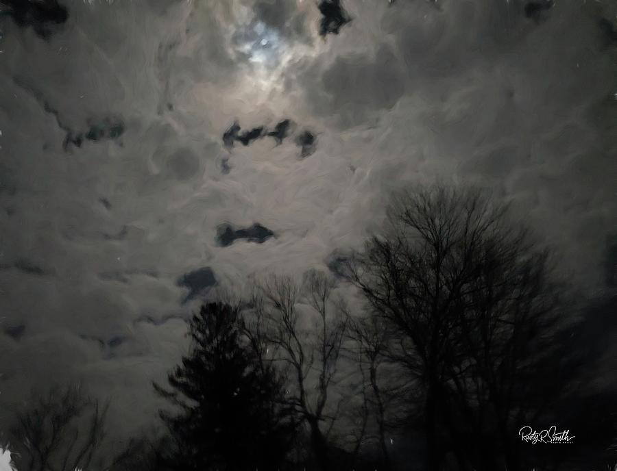 Night clouds and moon peeking through. by Rusty R Smith