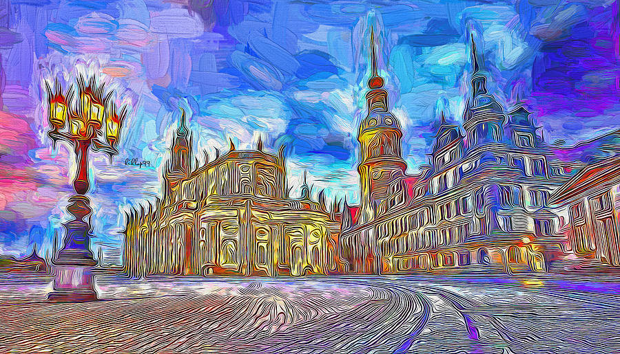 Night Come To Dresden Painting
