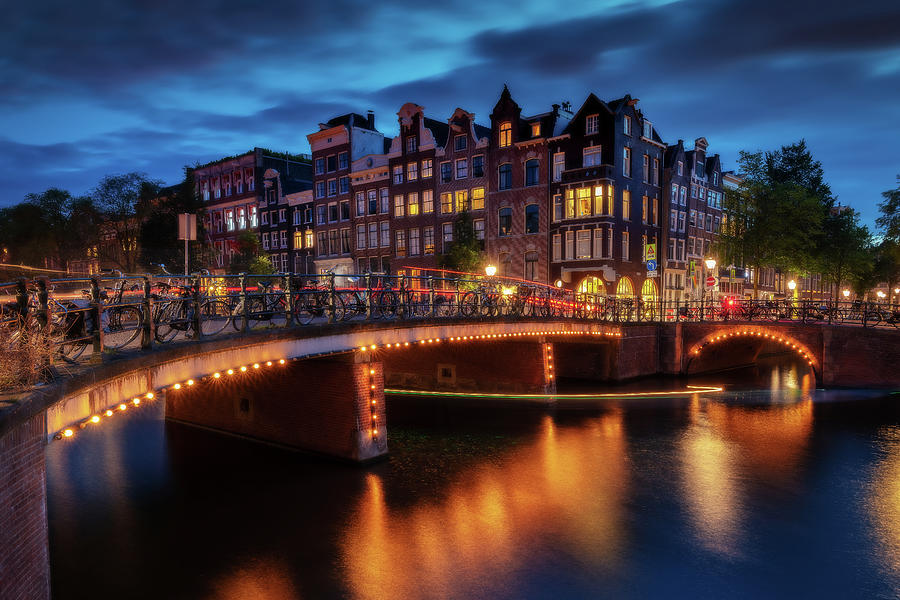 Amsterdam Photograph - Night in Amsterdam by Andrei Dima