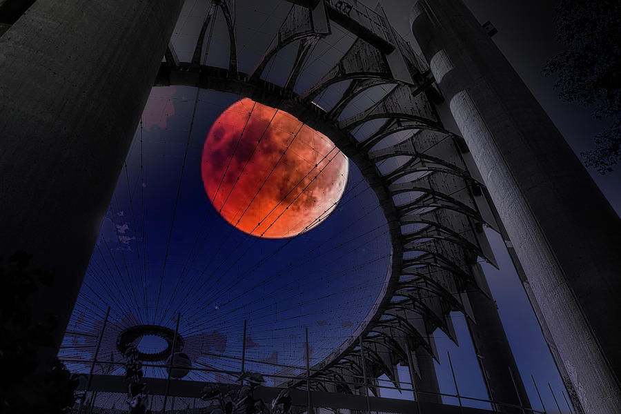 Unisphere Photograph - Night Moods Red Moon over Worlds Fair 1964  by Chuck Kuhn