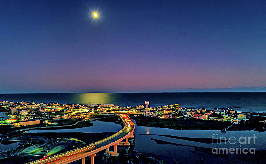 Night Moon over Topsail by DJA Images