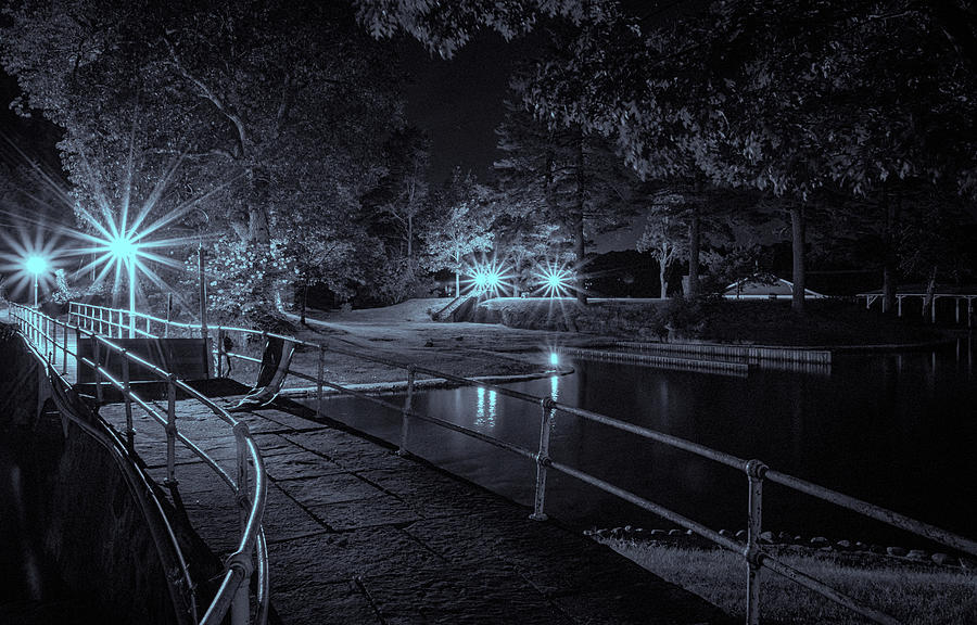 Night On The River In Black And White by Tom Singleton