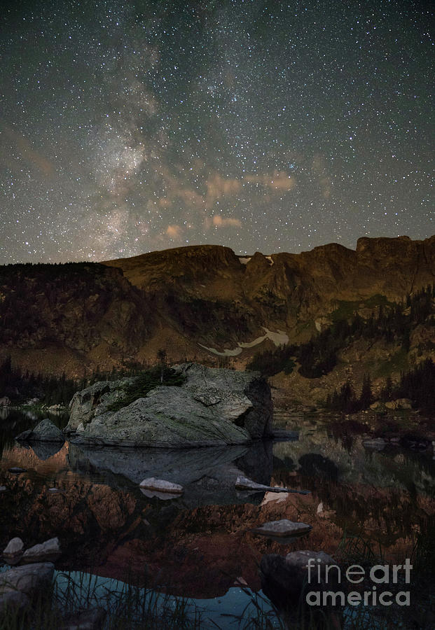 Night sky over Forest Lake, Colorado by Keith Kapple