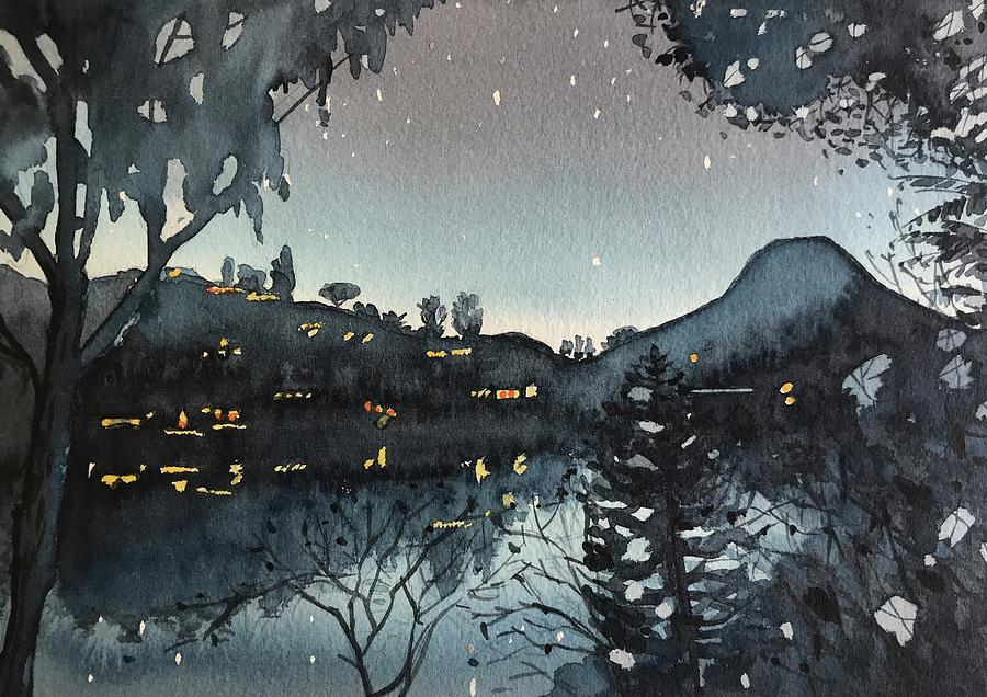 Night Time At The Lake Painting