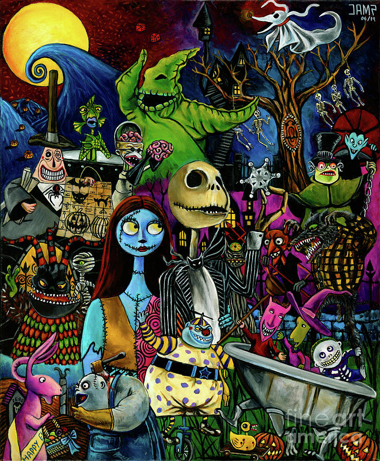 Nightmare Before Christmas Painting - Nightmare Before Christmas by Jose Mendez