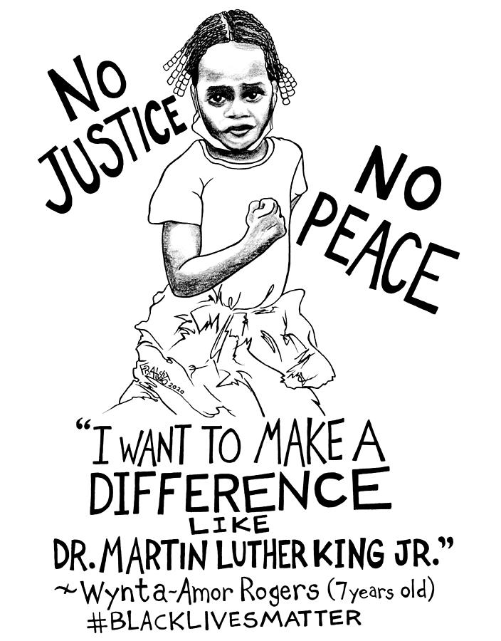 Pen And Ink Illustration Drawing - No Justice No Peace Drawing by Rick Frausto