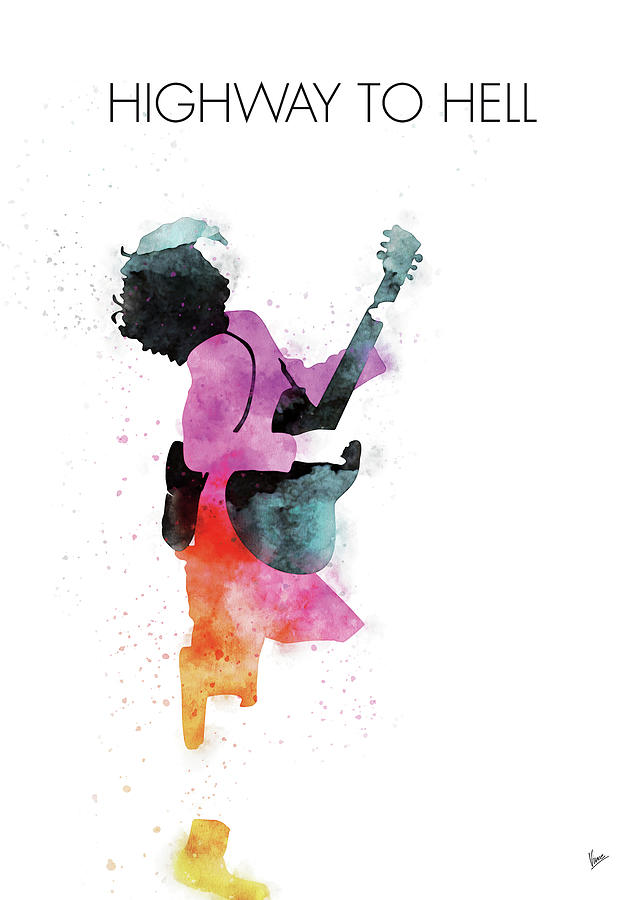Acdc Digital Art - No065 MY ACDC Watercolor Music poster by Chungkong Art