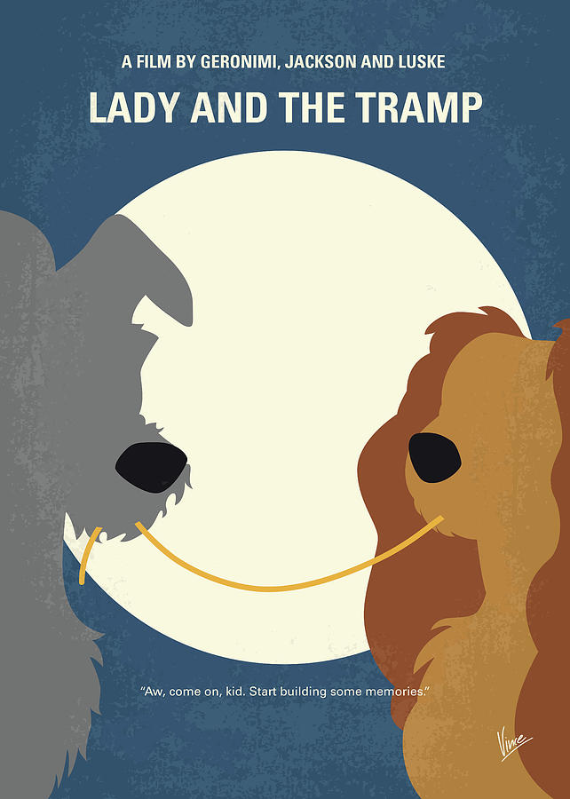 No1194 My Lady And The Tramp Minimal Movie Poster Digital Art By Chungkong Art