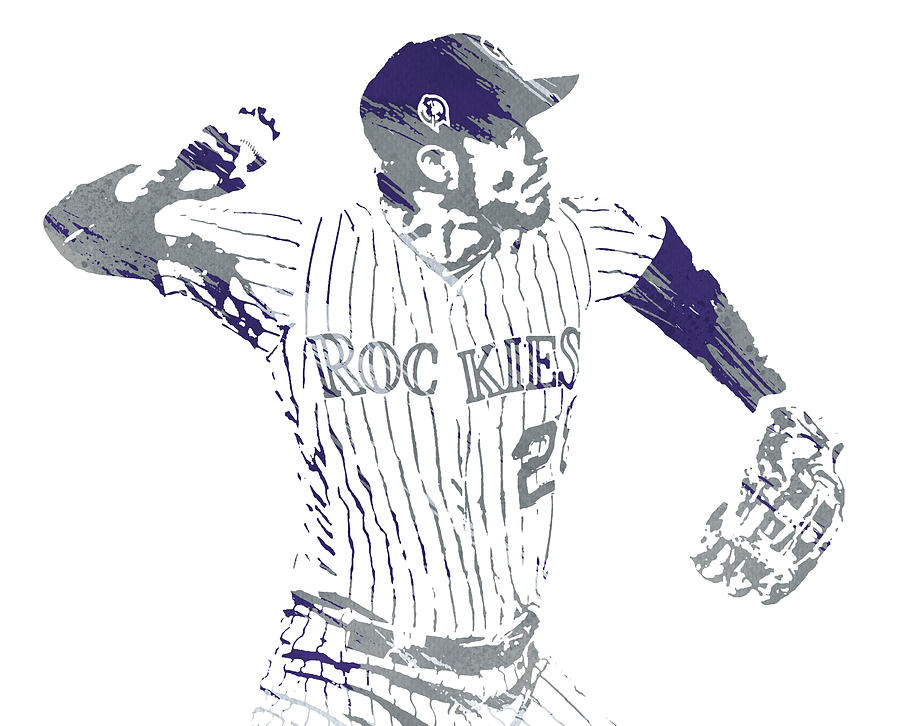 Nolan Arenado COLORADO ROCKIES WATERCOLOR STROKES PIXEL ART 1 by Joe Hamilton