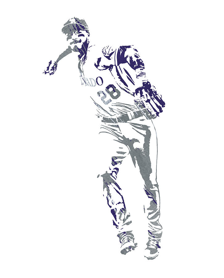 Nolan Arenado COLORADO ROCKIES WATERCOLOR STROKES PIXEL ART 2 by Joe Hamilton