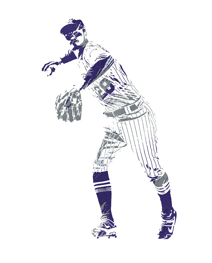 Nolan Arenado COLORADO ROCKIES WATERCOLOR STROKES PIXEL ART 3 by Joe Hamilton