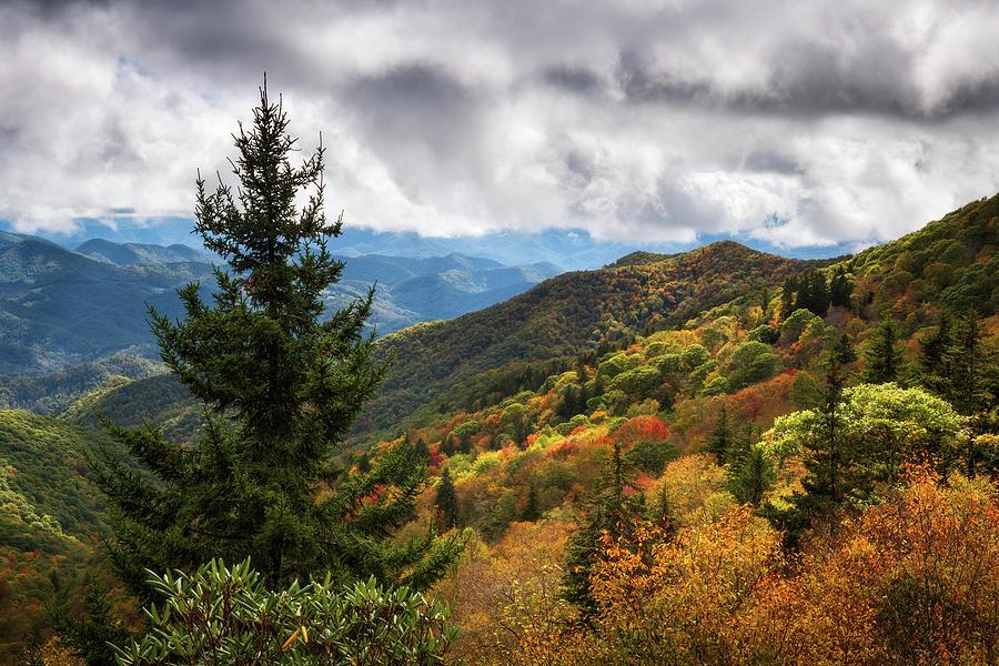 North Carolina Blue Ridge Parkway October Mountains Autumn Colors Photograph