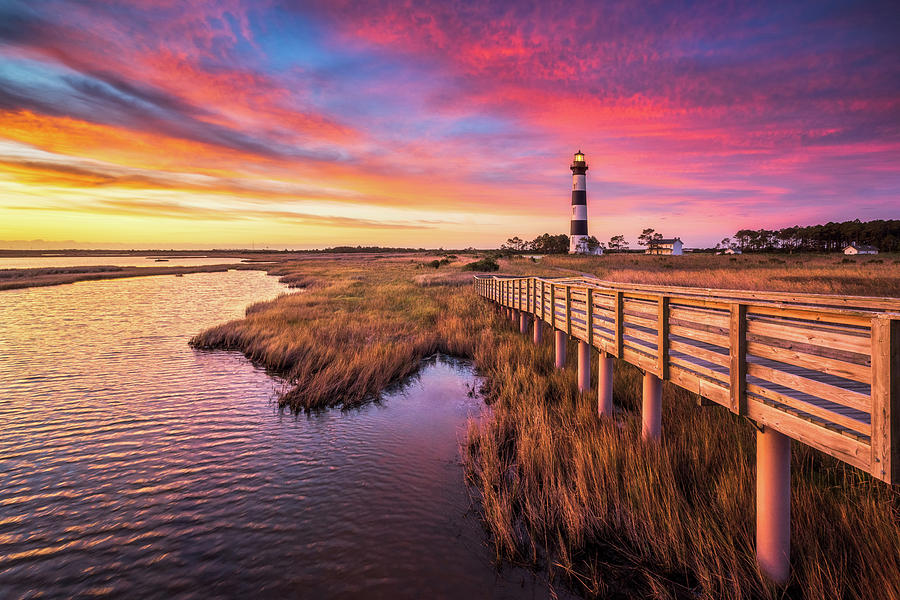 North Carolina Bodie Island Lighthouse Outer Banks Nags Head Nc Obx Sunrise Photograph