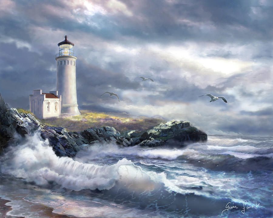 North Head Lighthouse At The Eve Of A Storm Painting