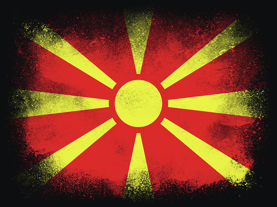 North Macedonia Flag Design Composition Of Exploding Powder And Photograph