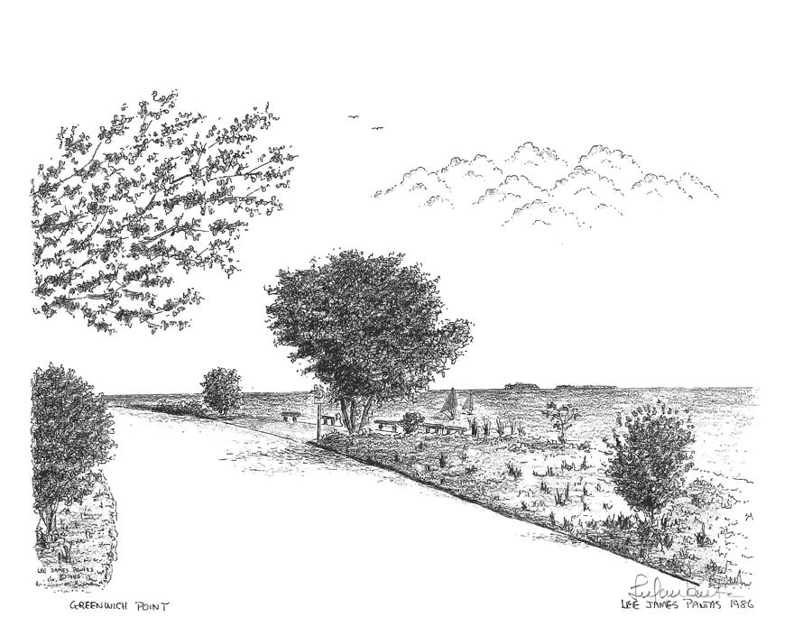 Greenwich Point Drawing - North Shore of Greenwich Point by Lee Pantas