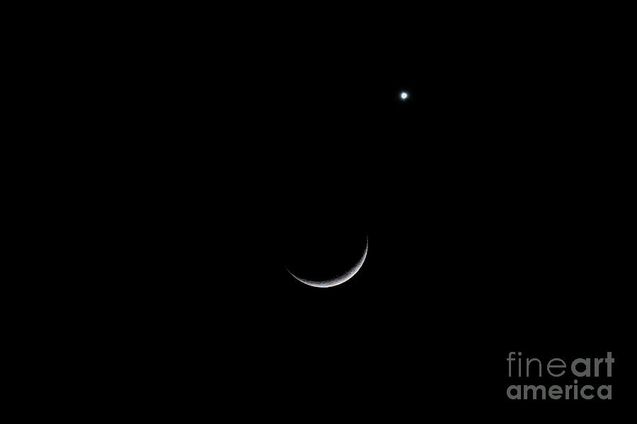 North Star Over Crescent Moon Photograph