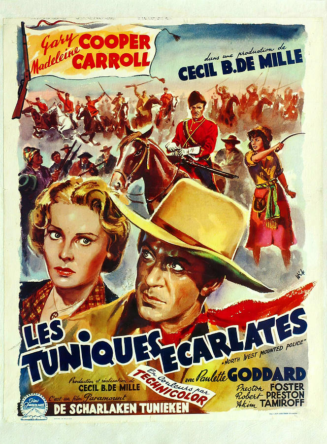 north West Mounted Police Movie Poster, With Gary Cooper, 1940 Mixed Media