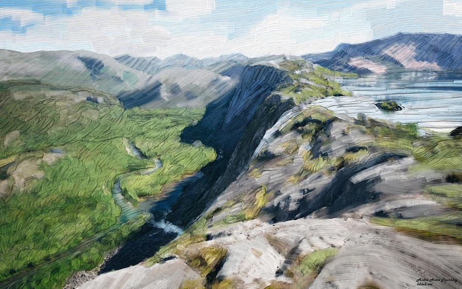 Landscape Digital Art - Norway lake by Andre Tremblay