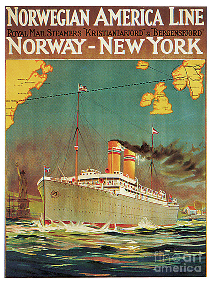 Norwegian America Line Royal Mail Steamers Kristianiafjord And Bergensford Norway New Work Poster Painting