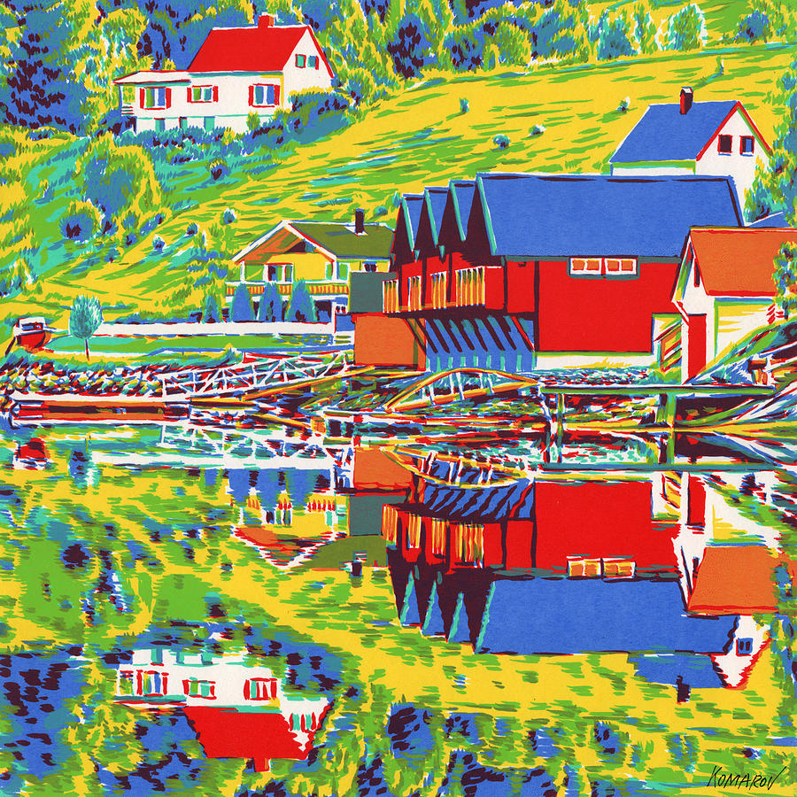 Norway Mixed Media - Norwegian landscape with fishing cottages colorful pop art impressionism seascape modern trendy land by Vitali Komarov