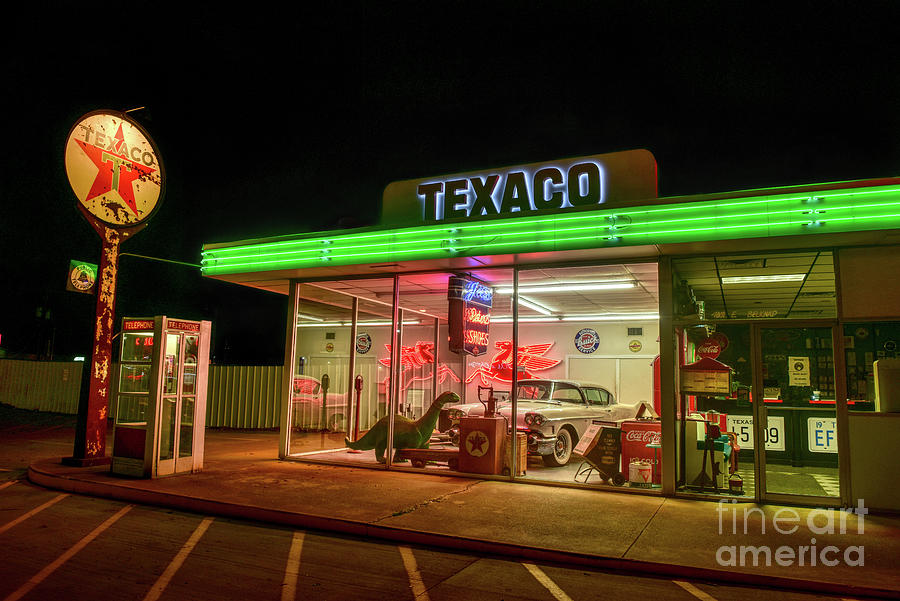 Nostalgic Old Gas Station Front View Photograph