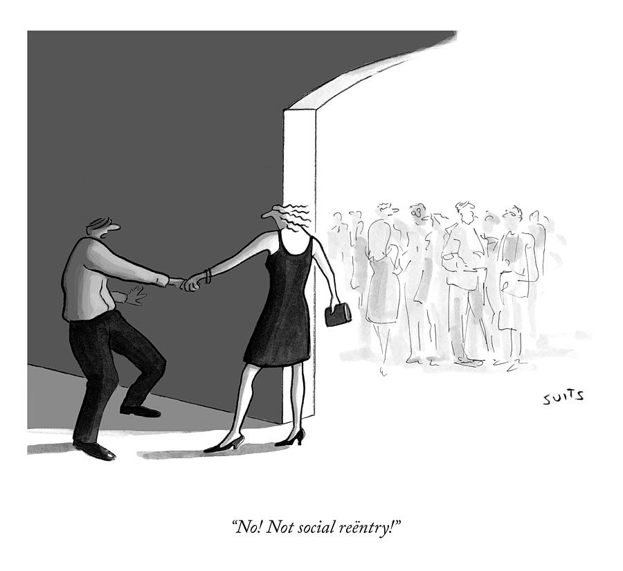 Not Social Reentry Drawing by Julia Suits