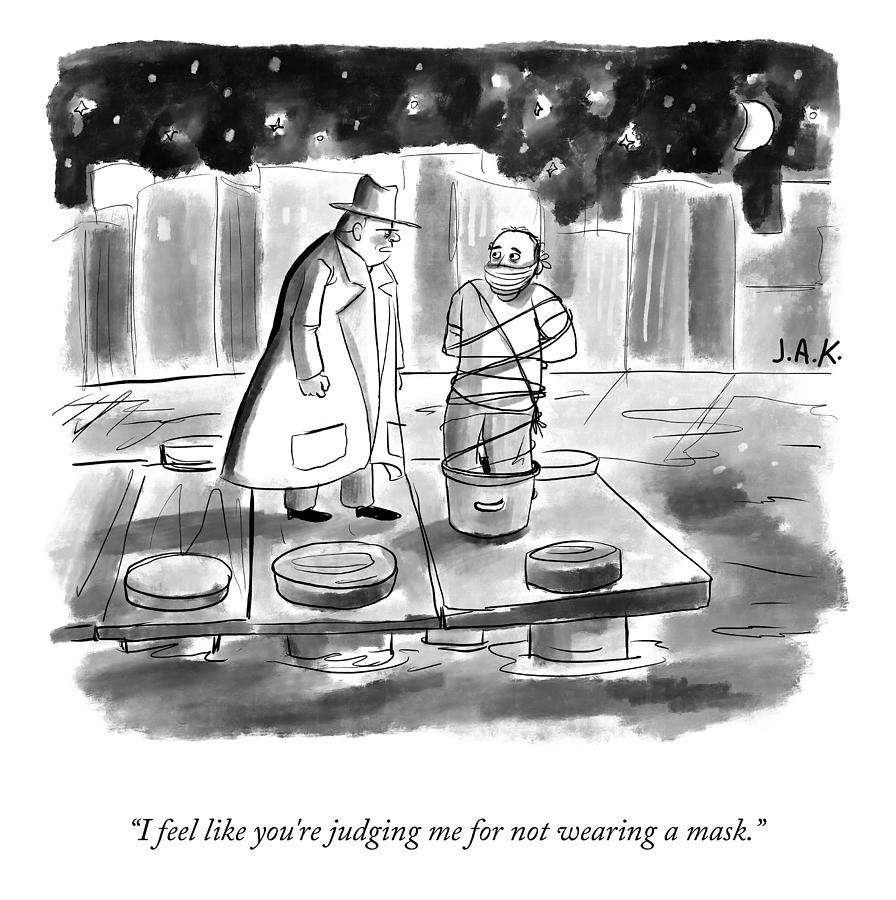 Not Wearing A Mask Drawing by Jason Adam Katzenstein