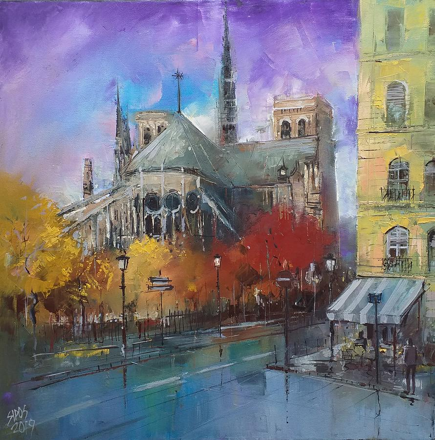 Notre Dame In Autumn Colors Painting