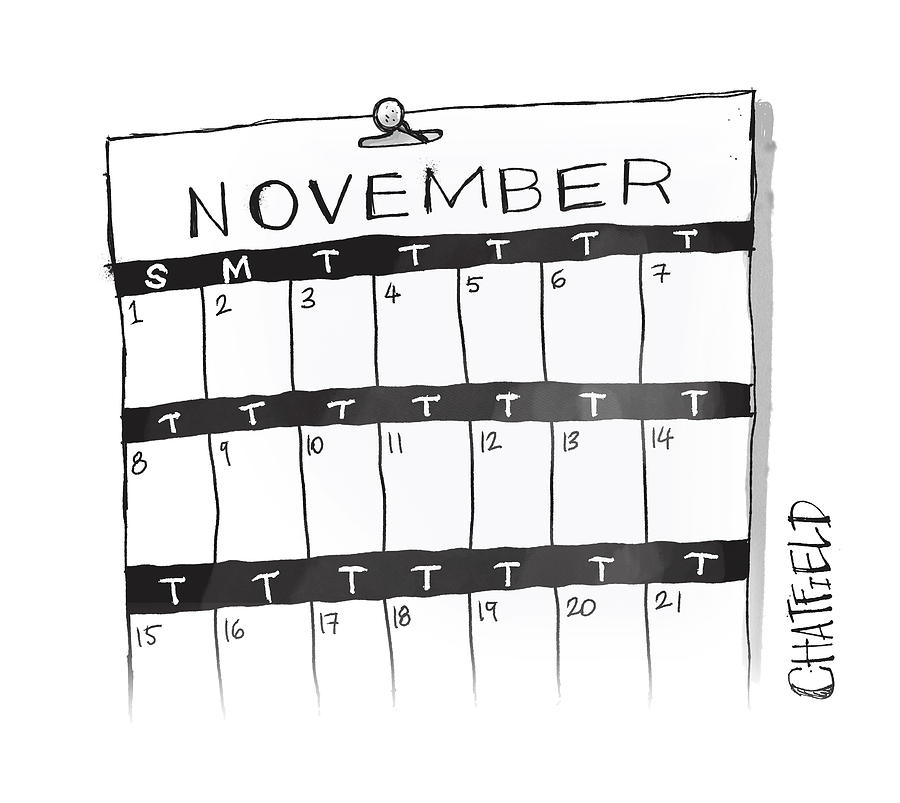 November Calendar Drawing by Jason Chatfield and Scott Dooley