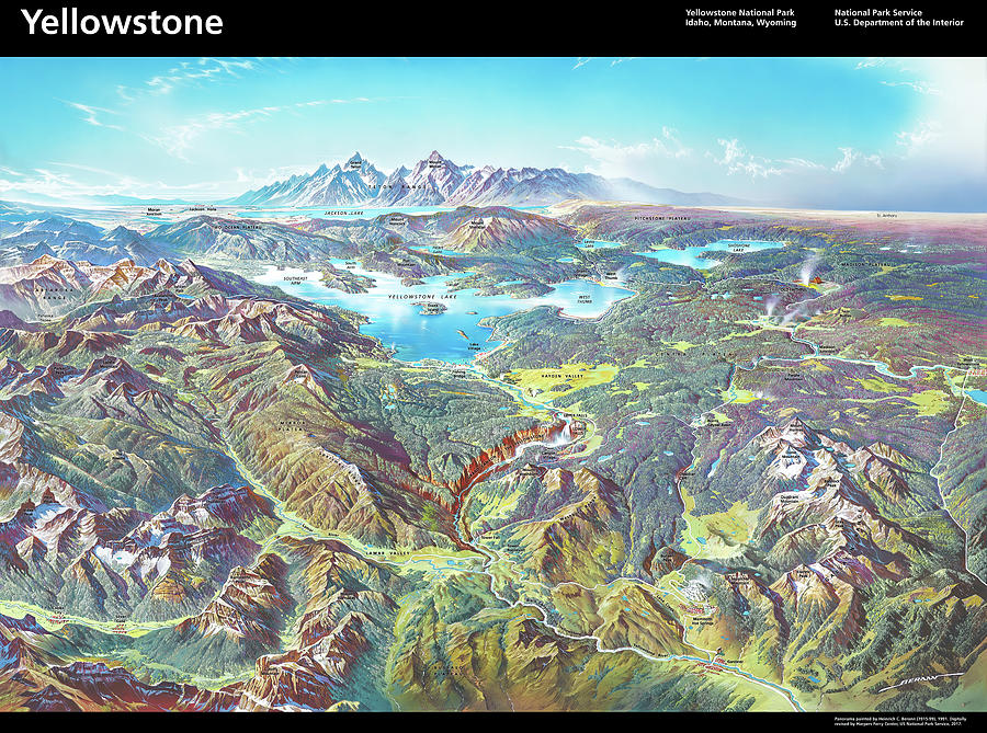 Nps Panorama Of Yellowstone National Park - With Labels Painting
