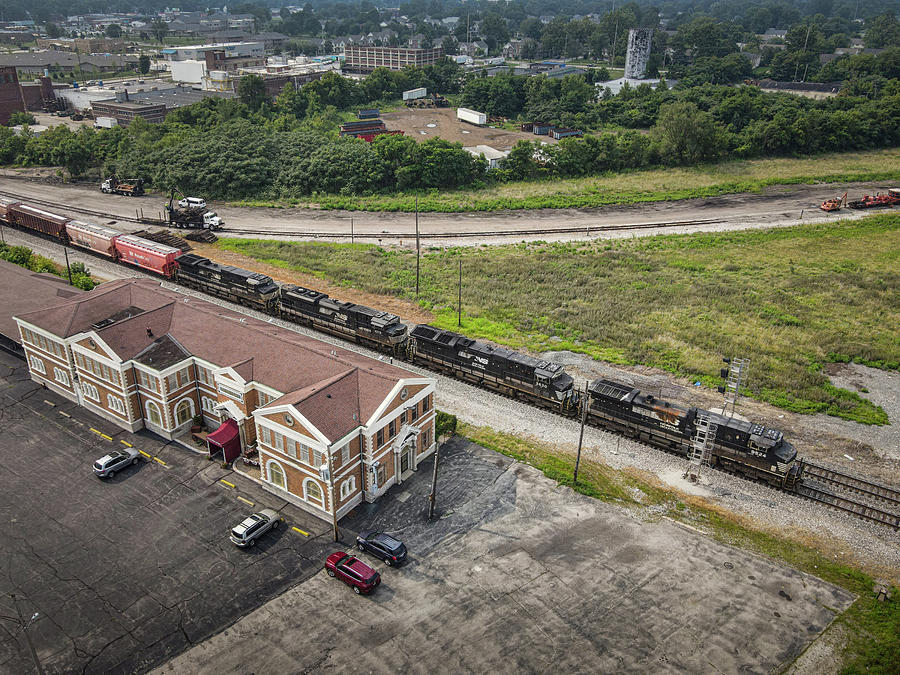 Railroad Photograph - NS 148 arrives at Decatur Illinois as it passes the old Wabash Station by Jim Pearson