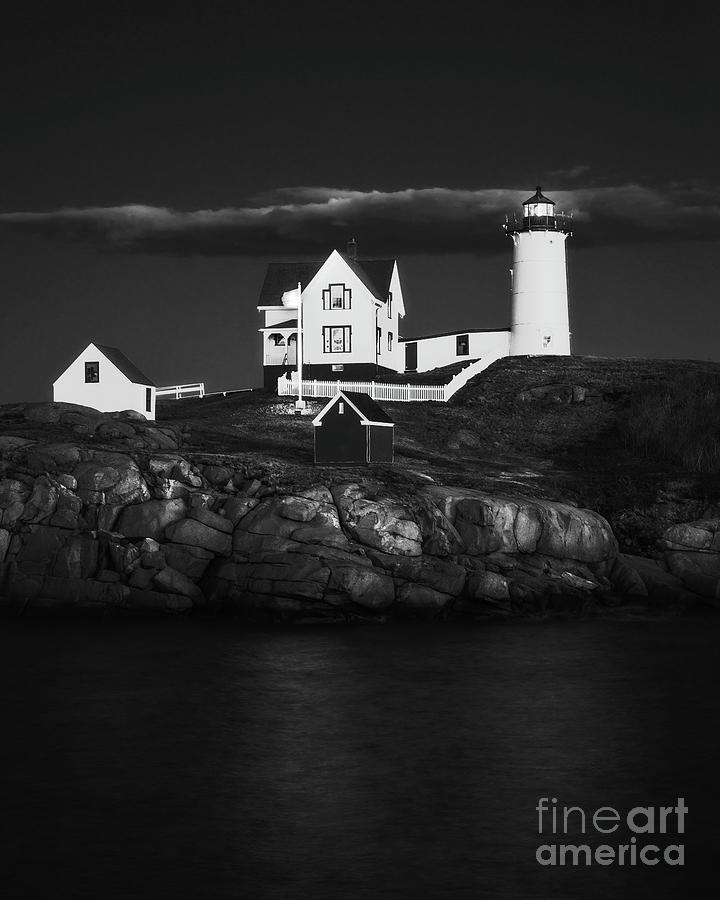 Nubble Light Black and White by Sharon Seaward