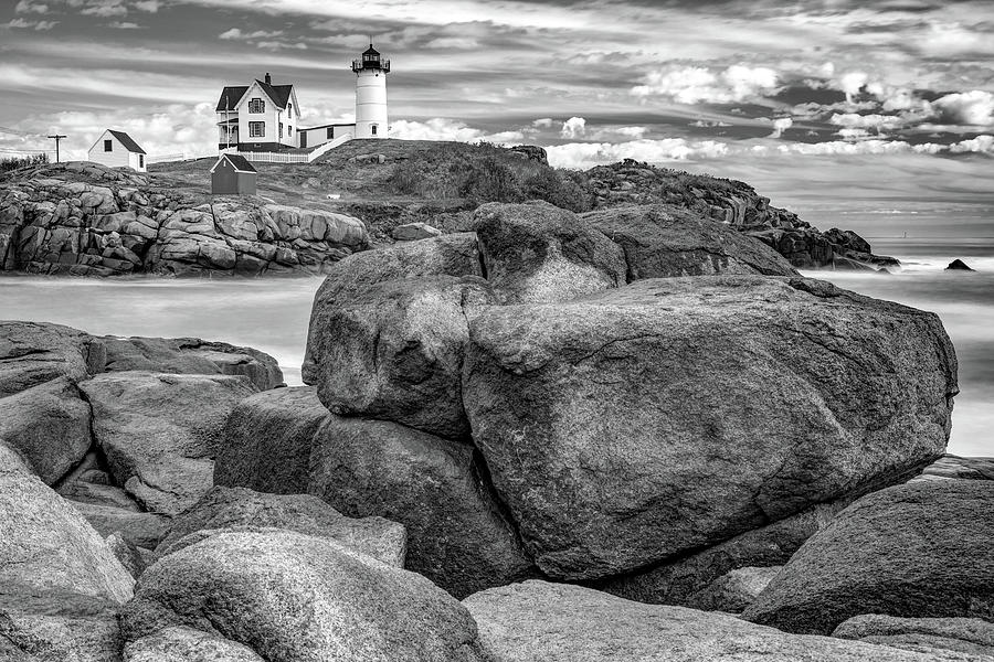 America Photograph - Nubble Lighthouse On The Rocks - York Maine Monochrome by Gregory Ballos