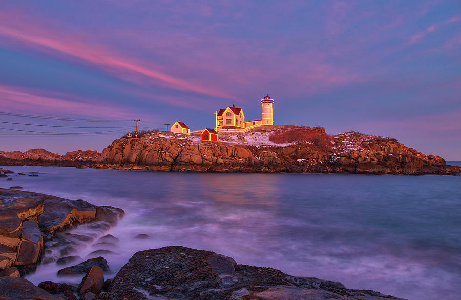 Nubble Lighthouse with Christmas Decoration by Juergen Roth