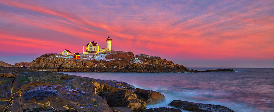 Nubble Lighthouse with Holiday Lighting Decoration by Juergen Roth