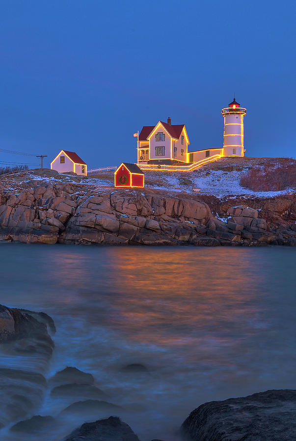 Nubble Lighthouse with Holidays Decoration by Juergen Roth