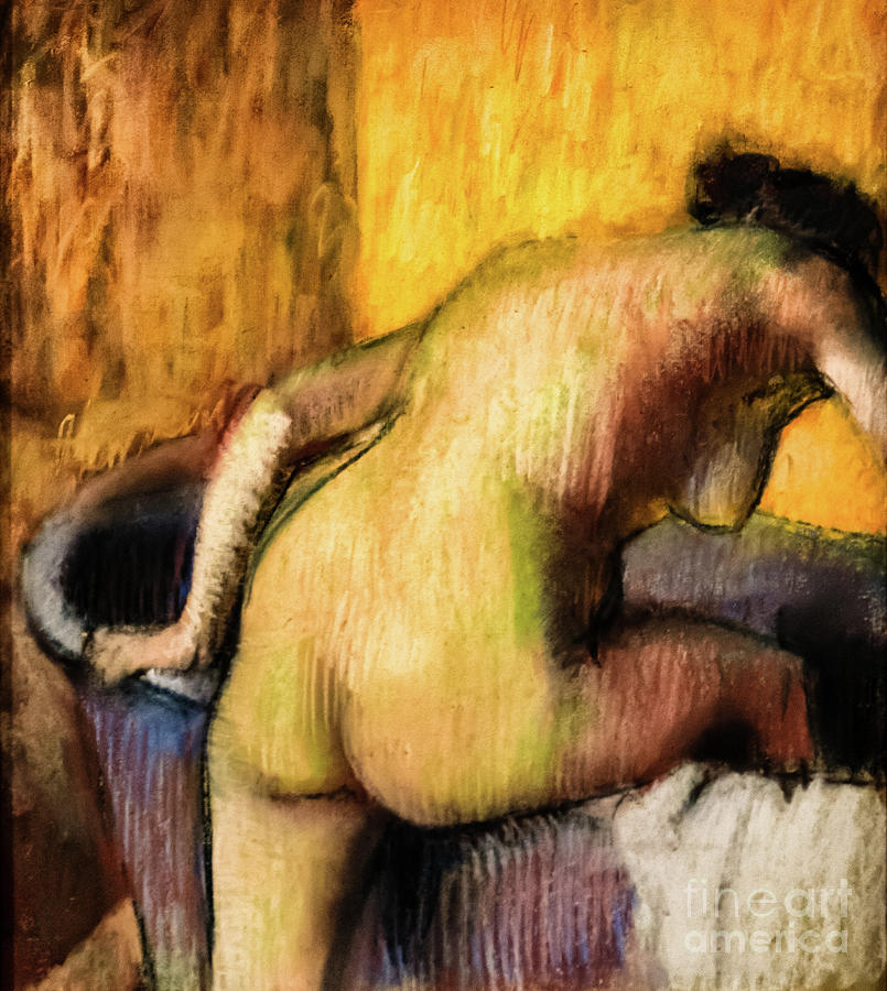 Nude Bather Stepping into a Tub by Degas by Edgar Degas