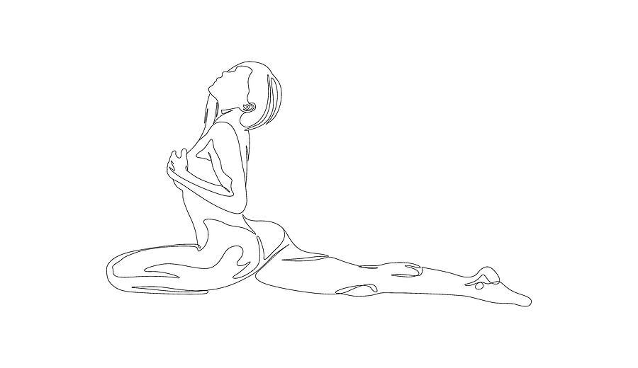 Nude Body Line Art Woman Drawing By Pavel Krikotin