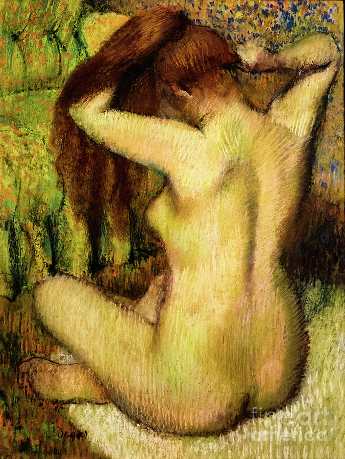 Nude Woman Combing Her Hair by Degas by Edgar Degas