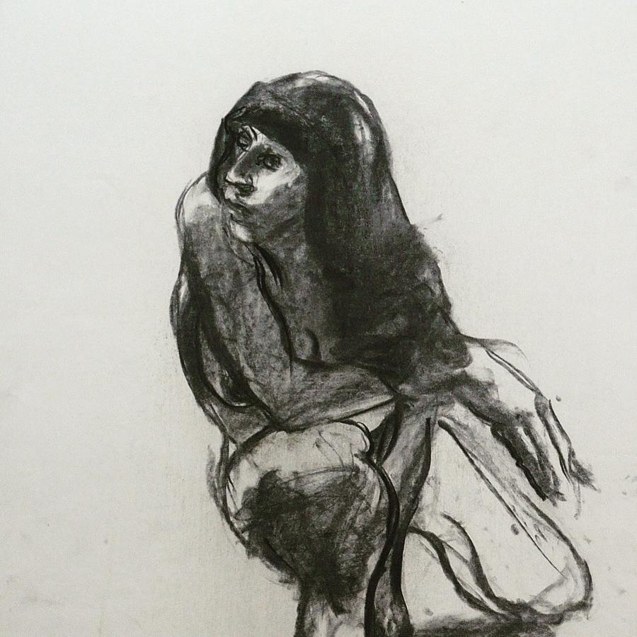 Black And White Drawing - Nude Woman III by Galya Tarmu