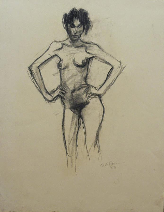 Portrait Drawing - Nude Woman IV by Galya Tarmu