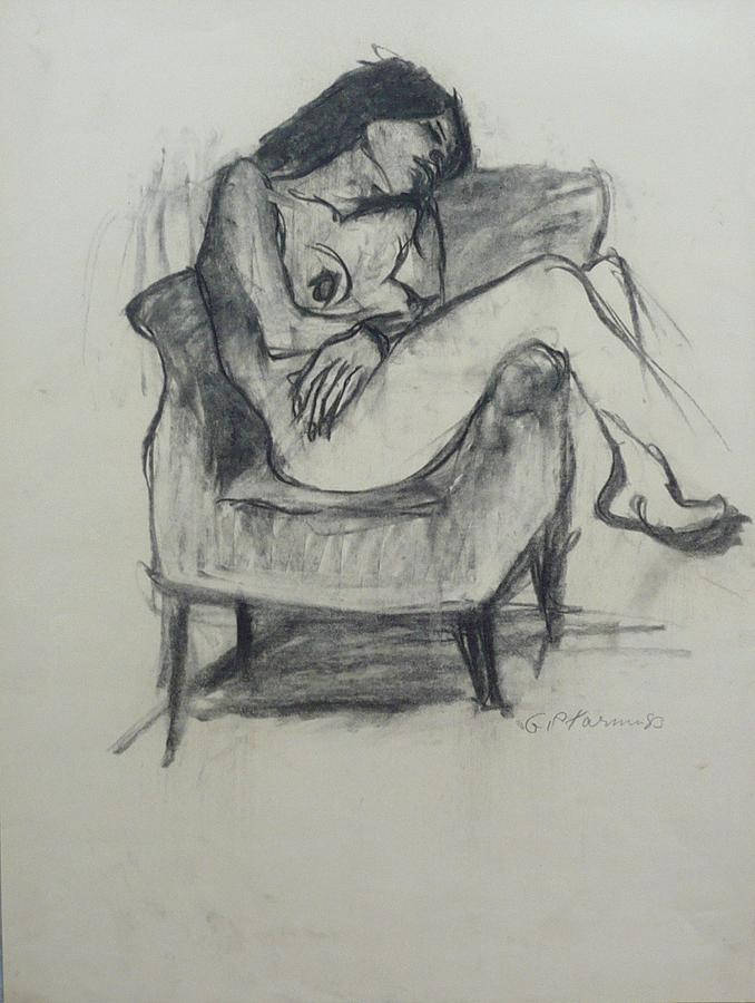 Armchair Drawing - Nude Woman IX by Galya Tarmu